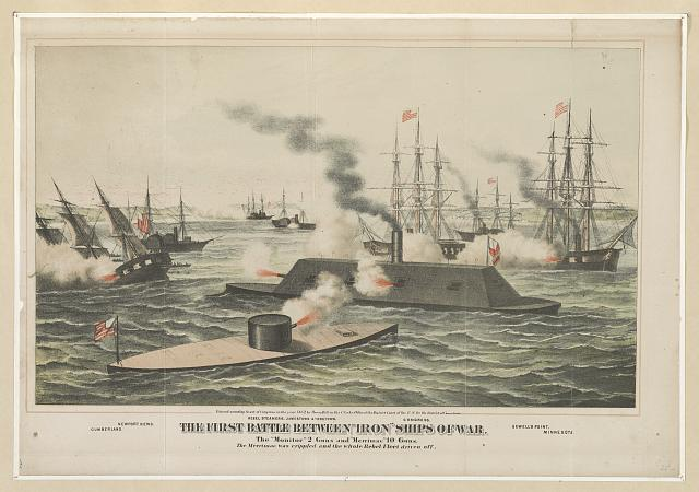 "The first battle between ""iron"" ships of war"