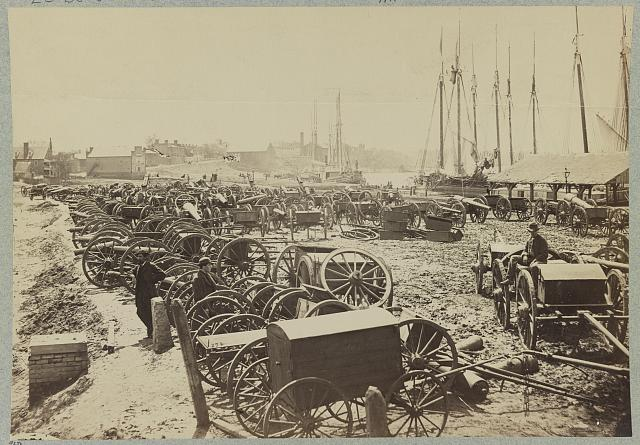 Captured Confederate artillery, on the docks at Richmond, Va., April, 1865