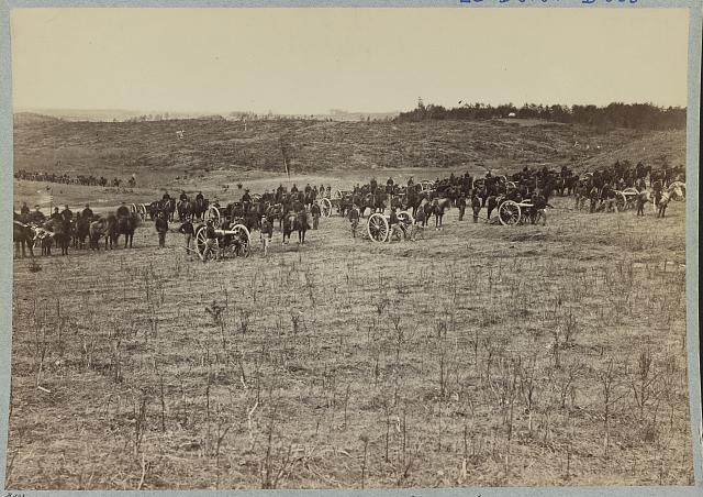 Artillery going into action on south bank of Rappahannock River - June 4, 1863