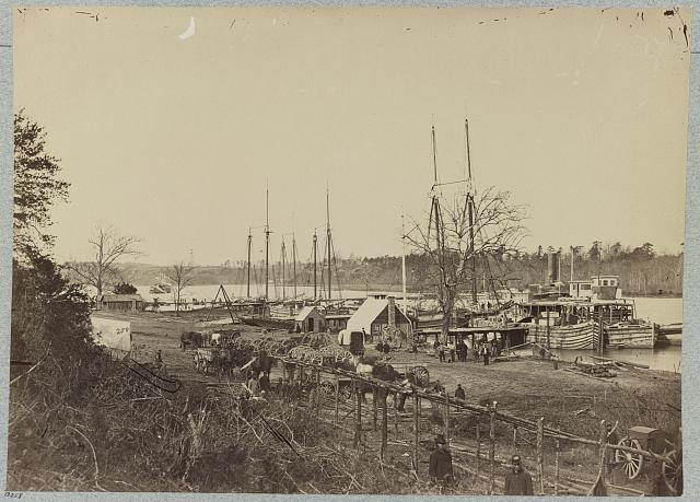Broadway Landing, Appomattox River, Va., Butler's signal tower at Point of Rocks, in distance