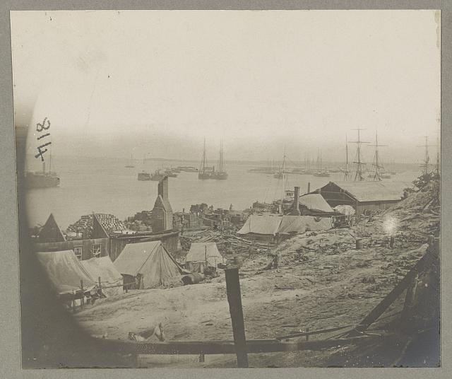 City Point, Va., view on the docks, after explosion of the ordnance barges