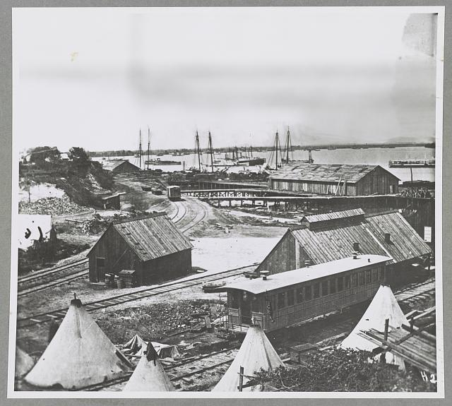 Wharves at City Point, Va., Lincoln's car in foreground