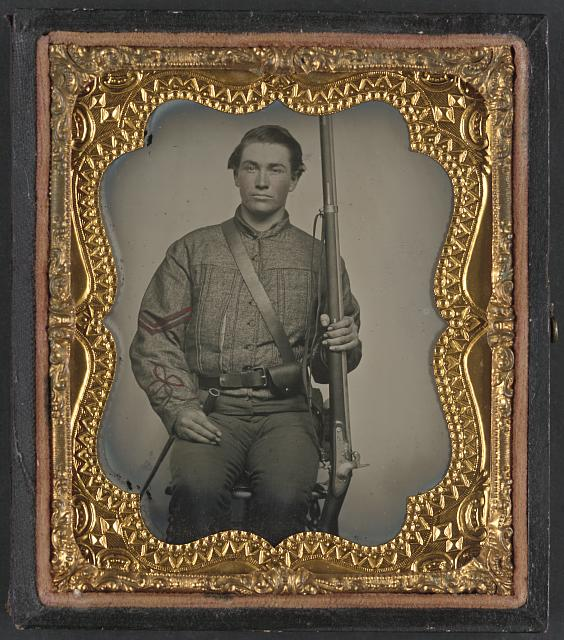 [William Jenkins, North Carolina soldier, in artillery uniform, with percussion rifle converted from flintlock]