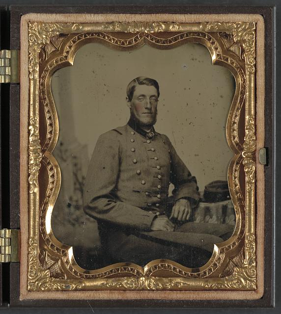 [Unidentified soldier in Confederate uniform with rifleman buttons]
