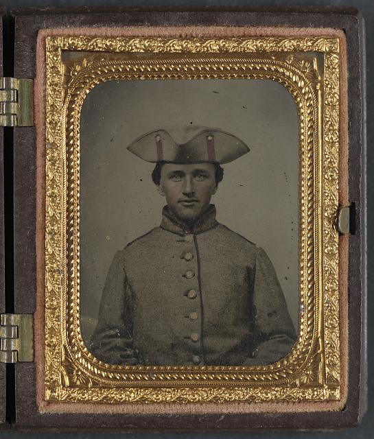 [Private Thomas Green of Co. B, 11th Massachusetts Infantry Regiment in uniform]