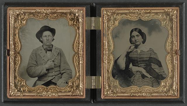 [Unidentified soldier in Confederate uniform and unidentified woman]