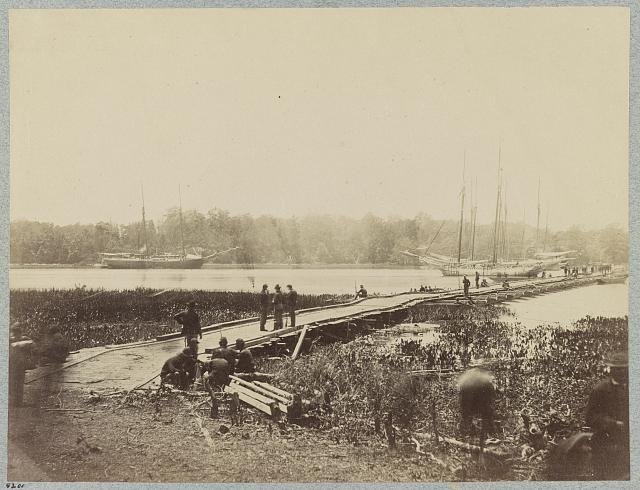 Pontoon bridge across James River at Powhatan Point on which Army of Potomac crossed, June, 1864