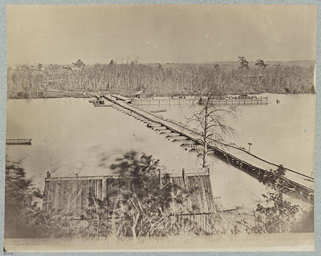 Pontoon bridge at Broadway Landing, Appomattox River, Va.
