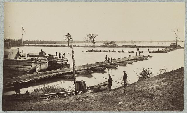 Pontoon bridge at Deep Bottom, James River, Va.