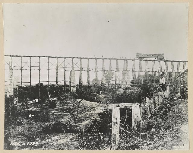 Bridge over Running Water Creek destroyed during the Civil War