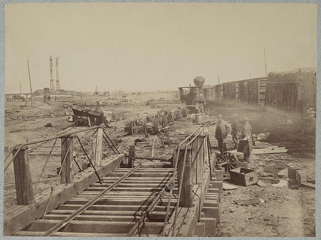 Ruins at Manassas Junction, Va. after its evacuation by Confederates, March 1862