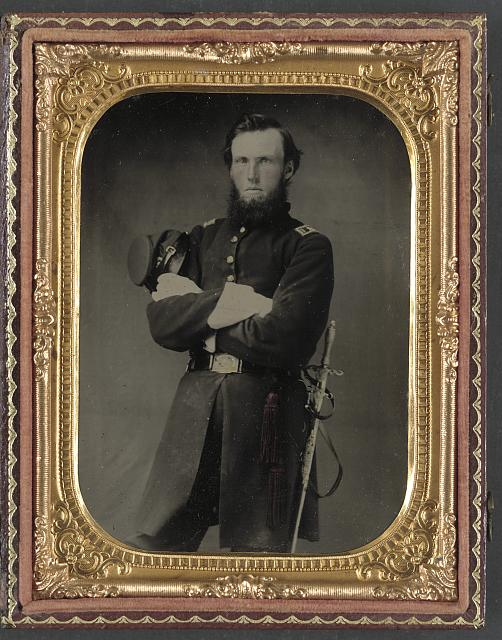 [Unidentified soldier in Union assistant surgeon uniform with Ames medical sword]