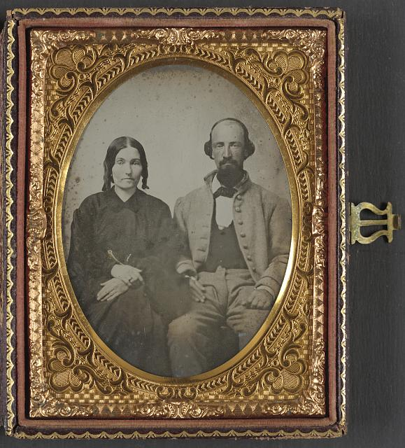 [Unidentified soldier in Confederate uniform and his wife, Sarah A. Dasher]