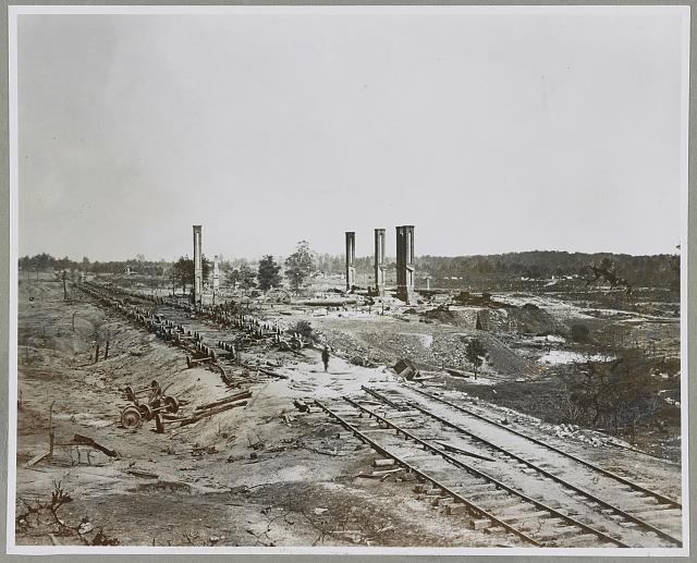 Atlanta, GA, 1864. Destruction of Hood's Ordnance train, Georgia Central Railroad