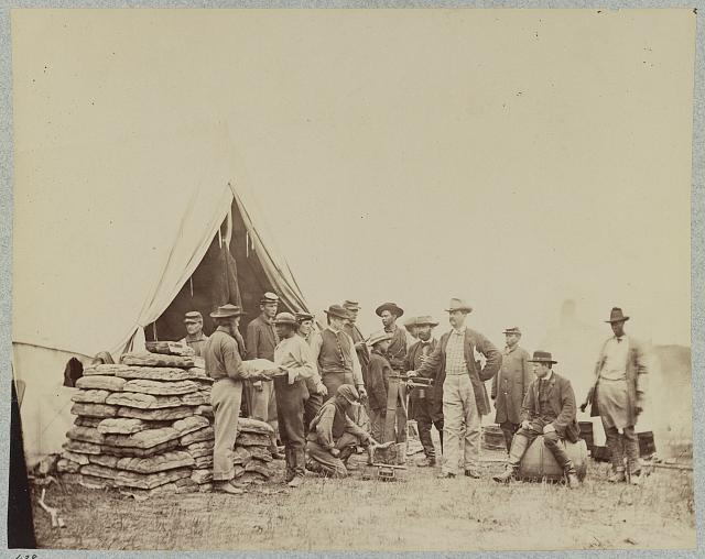 Commissary tent at headquarters of the Army of the Potomac, near Fairfax Court House, Va., June 1863