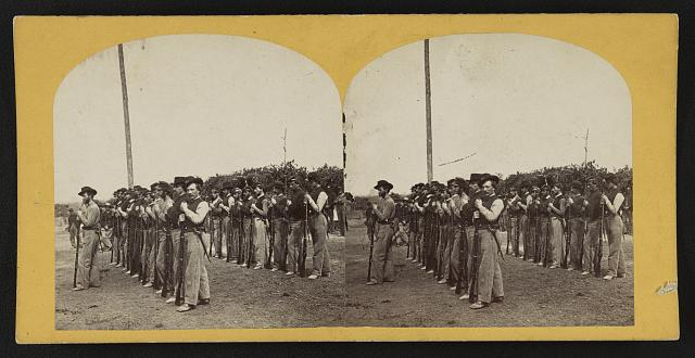 [Soldiers from the 134th Illinois Volunteer Infantry drilling at Columbus, Kentucky]