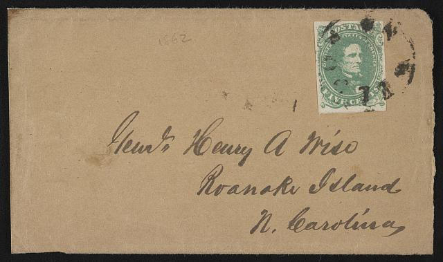 [Envelope addressed to Genl. Henry A. Wise, Roanoke Island, N. Carolina]