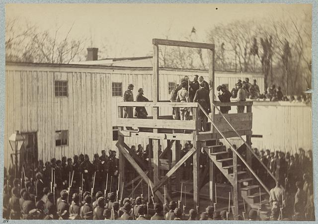 Execution of Captain Henry Wirtz (i.e. Wirz), C.S.A, adjusting the rope