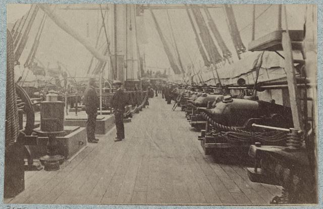 On deck of U.S. Frigate Hartford