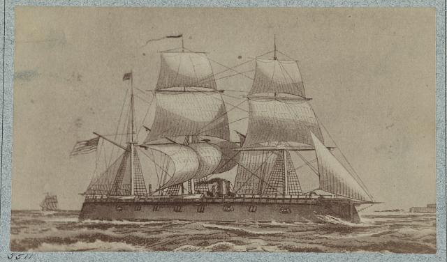 The iron-clad New Ironsides under sail