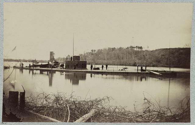 "Monitor ""Lehigh"" in Trent's Reach, James River, Va., just below Confederate Battery at Howlett House"