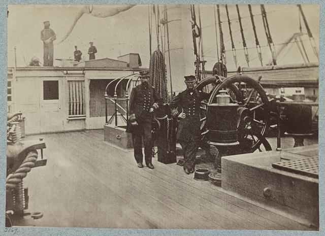 Admiral Farragut and Captain Drayton on deck of U.S. frigate Hartford