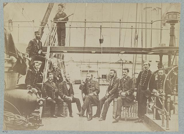 Officers on deck on U.S. frigate Sabine