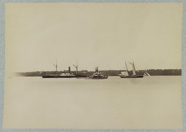 Dispatch boat, Monitor, and James Gordon Bennett's yacht, Rebecca, off Port Royal