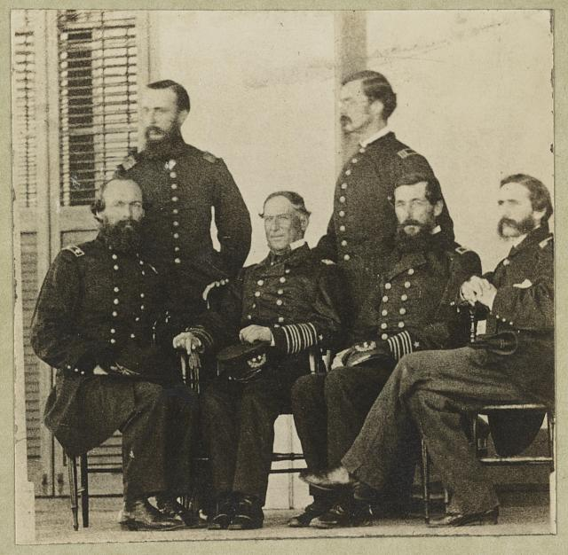 [Group portrait of officers with Admiral David G. Farragut seated, center]