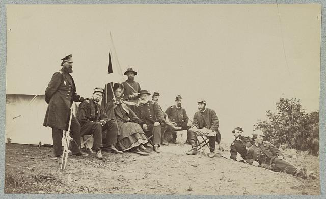 Kate Chase Sprague with Gen. J. J. Abercrombie and staff