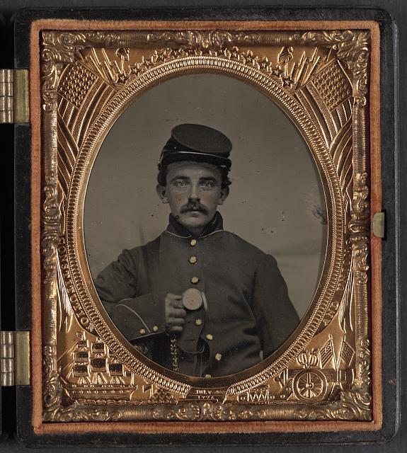 [Unidentified soldier in Union uniform with pocket watch]