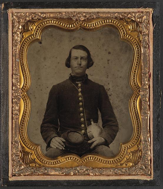 [Private Amos Guise of Co. H, 3rd South Carolina Infantry Regiment, in uniform with canteen]