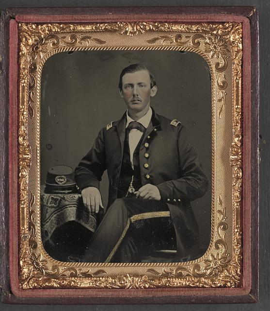 [Captain James Dugan Gist of General & Staff Confederate States Infantry Regiment in uniform with South Carolina Volunteers kepi]