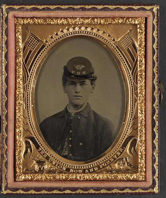 [Unidentified soldier in Union uniform and 14th New Hampshire Infantry Regiment kepi]