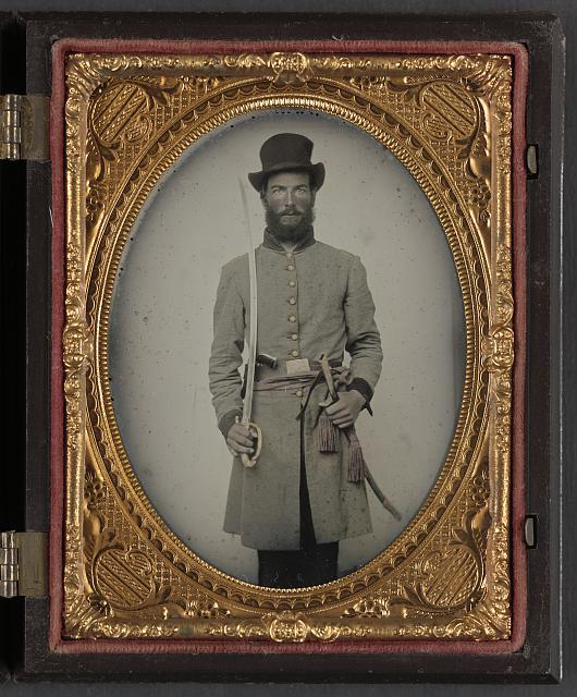 [Captain Augustus C. Thompson of Co. G, 16th Georgia Infantry Regiment with sword]