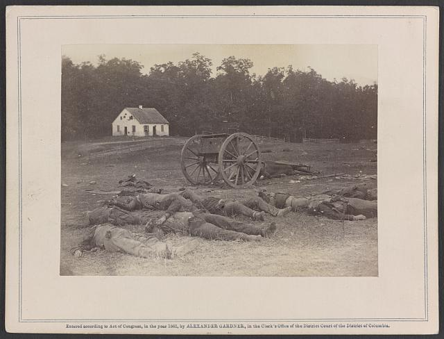 Completely silenced! Dead Confederate artillery men, as they lay around their battery after the Battle of Antietam.