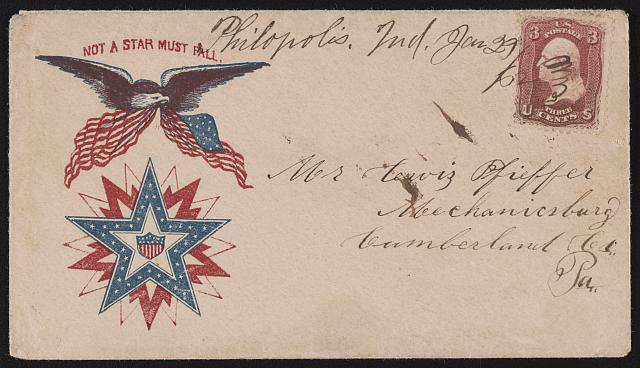 "[Civil War envelope showing eagle with American flag above star design with message ""Not a star must fall""]"