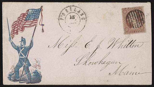 [Civil War envelope showing soldiers with sword and American flag]