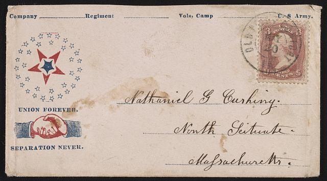"[Civil War envelope showing star design and handshake with message ""Union forever. Separation never""]"