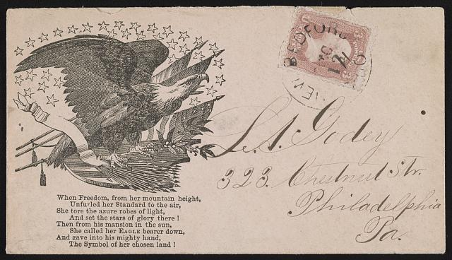 "[Civil War envelope showing eagle with American flags, shield, arrows, and laurel branch with first stanza from Joseph Rodman Drake's poem, ""The American Flag""]"