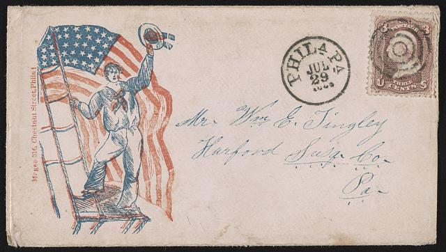 [Civil War envelope showing sailor waving hat in front of American flag]