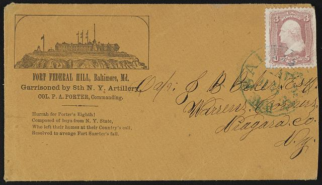 [Civil War envelope from Private G.H. Fellows, Fort Federal Hill, Baltimore, Md., to Captain Joel B. Baker, Warrens Corners, Niagara Co., N.Y.]
