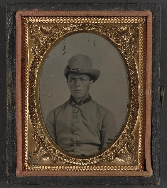 [Unidentified soldier in Confederate uniform and Hardee hat]