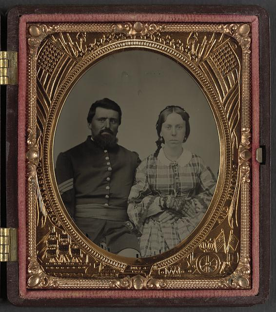 [Unidentified soldier in Union sergeant's uniform with unidentified woman]