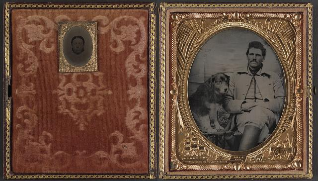 [Unidentified soldier in Union uniform with dog and unidentified woman]