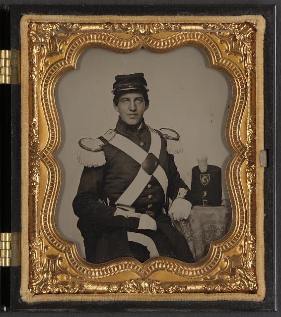 [Unidentified soldier in Union uniform with Co. F Massachusetts militia shako]