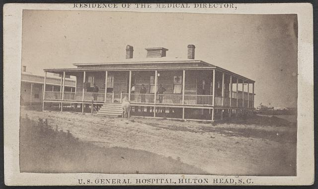 Residence of the medical director of the U.S. General Hospital at Hilton Head, S.C. Description: Built to the right of the hospital, facing the Broad River, (Port Royal Bay) /