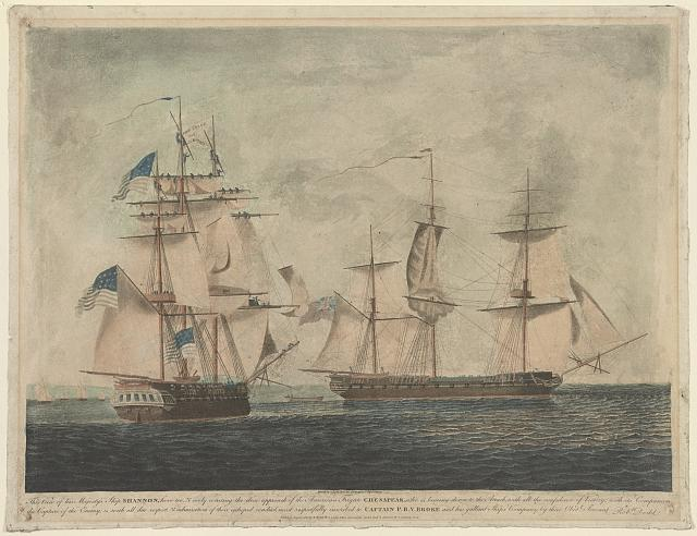 To Captain P.B.V. Broke commanding his majesty's ship Shannon, his officers, seamen, & marines, this representation of their gallantly boarding the American frigate Chesapeak, ...