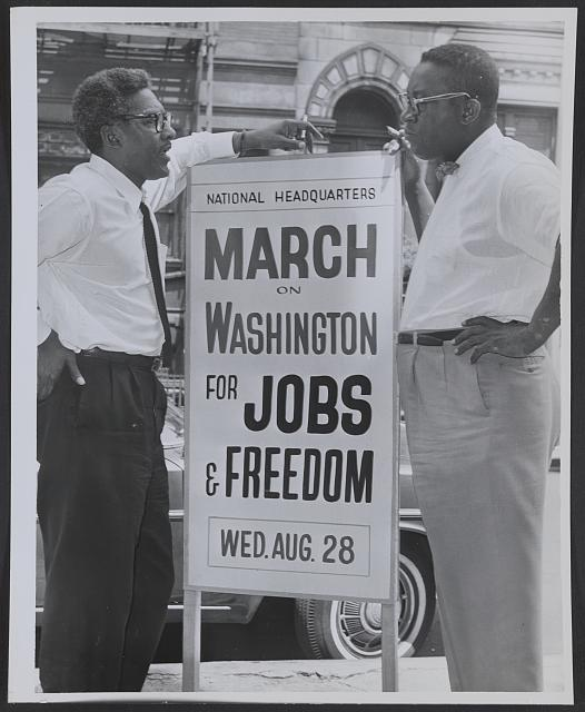 In front of 170 W 130 St., March on Washington, l t[o] r Bayard Rustin, Deputy Director, Cleveland Robinson, Chairman of Administrative Committee