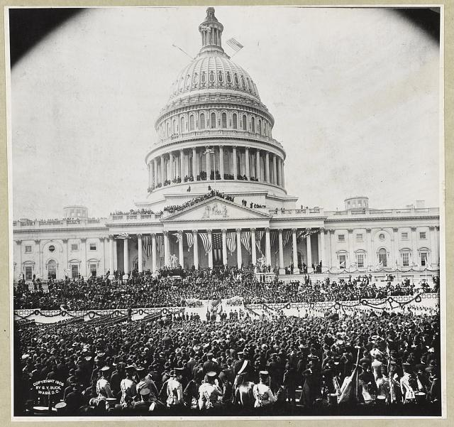 [Crowd outside and atop the U.S. Capitol for the inauguration of President Theodore Roosevelt]